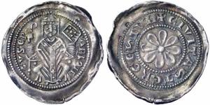 obverse: TRIESTE, Arlongo de' Voitsberg (1255-1281) AR Denaro con rosa 1.15 gr. Paolucci 141 Rara BB  ex Sammlung RP