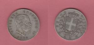 obverse: Vittorio Emanuele II (1861-1878) AR 5 Lire 1874 Milano MB/BB