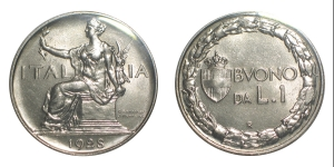 obverse: Vittorio Emanuele III (1900-1943) Nk Lira 1928 Pagani 781 sigillata FDC