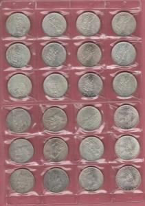 obverse: Lotto 24 monete da 500 Lire Caravelle (x3), Centenario Unità d Italia (x7) e Dante Alighieri (x14) FDC (NON SI ACCETTANO RESI)