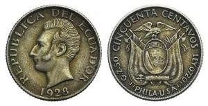 obverse: EQUADOR, AR 50 Centavos 1928 KM 71 bel BB+ ex Bertolami E59, lotto 1203