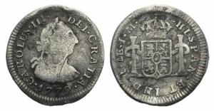obverse: PERU , Carlos III (1759-1788) AR 1/2 Real 1779 MB/BB ex Bertolami E59, lotto 1207