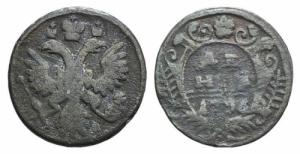 obverse: RUSSIA, Anna Ioannovna (1730-1740). Æ 1/2 Kopek 1736 KM 188. MB ex Bertolami E59, lotto 1209