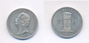 obverse: CREMA (Castelgabbiano), Alfonso Sanseverino Vimercati Gettone 50 cent Mistura 1893, raro BB+