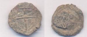 obverse: MANTOVA. (XV sec.) Tessera o sigillo in Pb. D\ Croce con busto di Virgilio nel I quarto. R\ Cimiero con testa d aquila verso sinistra. raro BB