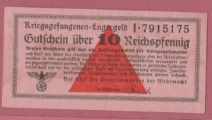 obverse: GERMANIA, Campo di prigionia di Wiezendorf, 10 Reichspfenning 1943-1945 qSPL