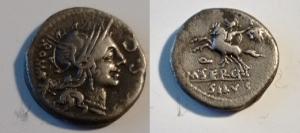 obverse: SERGIA. M. Sergius Silus (116-115 a.C.) AR Denario 3.76 gr. D/ Testa elmata di Roma a destra, dietro ROMA, davanti S.C. R/ Soldato a cavallo a sinistra con in mano testa di barbaro. Cr. 286/1 BB