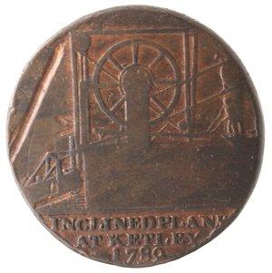 reverse: Token. Gran Bretagna. Shropshire. Coalbrook Dale. Half penny token 1792. Ae. D/ IRON BRIDGE AT COALBROOK DALE 1792 al centro ERECTED ANNO 1779 SPAN 100 FEET su tre righe, ponte con nave sotto. R/ Macchinario, in esergo INCLINED PLANE AT KETLEY 1789. Contorno zigrinato. Peso gr. 12,43. Diametro mm. 30. MB. Segno al rovescio.