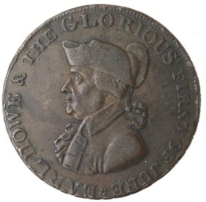obverse: Token. Gran Bretagna. Hampshire. Emsworth. Earl Howe Halfpenny token 1795. Ae. D&H 15. D/ Busto di Earl Howe l. EARL HOWE & THE GLORIOUS FIRST OF JUNE. R/ Britannia seduta a sinistra. Sul contorno EMSWORTH HALFPENNY PAYABLE BY IOHN STRIDE X. Peso gr. 10,61. Diametro mm. 29,50. qSPL. Colpetti al bordo.