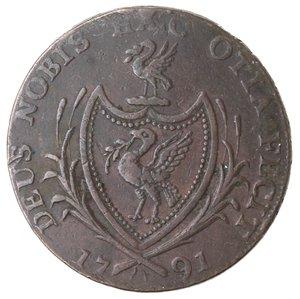 obverse: Token. Gran Bretagna. Lancaster. Liverpool. Halfpenny Token 1791. Ae. D&H 71. D/ LIVERPOOL HALFPENNY Nave. R/ DEUS NOBIS HÆC OTIA FECIT, 1791, Stemma. Sul contorno PAYABLE AT THE WAREHOUSES OF THOMAS CLARKE ·XX. Peso gr. 10. Diametro mm. 29. qSPL.