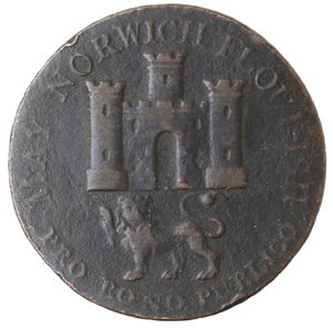reverse: Token. Gran Bretagna. Norfolk. Norwich. Nathaniel Bolingbroke. Halfpenny Token 1792. Ae. D&H 14. D/ MAY NORWICH FLOURISH. PRO BONO PUBLICO Castello con sotto il leone. R/ Stemma di Norfolk NORFOLK AND NORWICH HALFPENNY. 1792. Sul contorno PAYABLE AT N. BOLINGBROKES HABERDASHER & C. NORWICH.X. Peso gr. 9,91. Diametro mm. 30. BB.