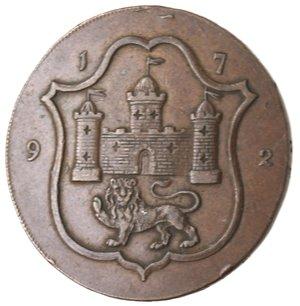 obverse: Token. Gran Bretagna. Norfolk. Norwich. Halfpenny Token 1792. Ae. D&H 38. D/ Castello con sotto il leone 1792. R/ Telaio. Sul contorno IOHN HARVEY OF NORWICH . X X X X. Peso gr.11,52. Diametro mm. 30. BB+.