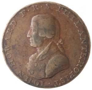 obverse: Token. Gran Bretagna. Hampshire. Portsmouth. Sharp's & Chaldecott's. Halfpenny Token. 1794. Ae. D&H 54. D/ IOHN HOWARD F · R · S PHILANTHROPIST Busto a sinistra. R/ CHICHESTER AND PORTSMOUTH. / HALF-PENNY Castello. Sul contorno PAYABLE AT SHARPS PORTSMOUTH AND CHALDECOTTS CHICHESTER. Peso gr. 10,21. Diametro mm. 29,50. BB.