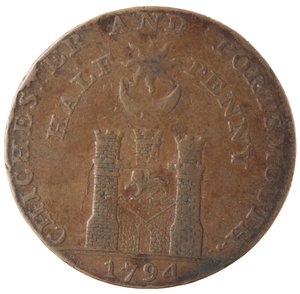 reverse: Token. Gran Bretagna. Hampshire. Portsmouth. Sharp's & Chaldecott's. Halfpenny Token. 1794. Ae. D&H 54. D/ IOHN HOWARD F · R · S PHILANTHROPIST Busto a sinistra. R/ CHICHESTER AND PORTSMOUTH. / HALF-PENNY Castello. Sul contorno PAYABLE AT SHARPS PORTSMOUTH AND CHALDECOTTS CHICHESTER. Peso gr. 10,21. Diametro mm. 29,50. BB.
