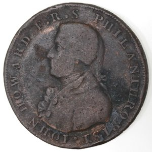 obverse: Token. Gran Bretagna. Hampshire. Portsmouth. Sharp's & Chaldecott's. Halfpenny Token. 1794. Ae. D&H 54. D/ IOHN HOWARD F · R · S PHILANTHROPIST Busto a sinistra. R/ CHICHESTER AND PORTSMOUTH. / HALF-PENNY Castello. Sul contorno PAYABLE AT SHARPS PORTSMOUTH AND CHALDECOTTS CHICHESTER. Peso gr. 9,95. Diametro mm. 28,50. MB.