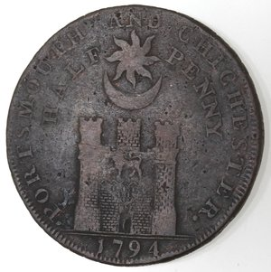 reverse: Token. Gran Bretagna. Hampshire. Portsmouth. Sharp's & Chaldecott's. Halfpenny Token. 1794. Ae. D&H 54. D/ IOHN HOWARD F · R · S PHILANTHROPIST Busto a sinistra. R/ CHICHESTER AND PORTSMOUTH. / HALF-PENNY Castello. Sul contorno PAYABLE AT SHARPS PORTSMOUTH AND CHALDECOTTS CHICHESTER. Peso gr. 9,95. Diametro mm. 28,50. MB.