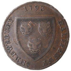 obverse: Token. Gran Bretagna. Shropshire Shrewsbury. Isaac Wood, 1735-1801, Shrewsbury Halfpenny token. 1793. Ae. D&H 19. D/ Stemma di Shrewsbury SHREWSBURY HALFPENNY 1793. R/ SALOP WOOLEN MANUFACTORY. Sul contorno PAYABLE AT SHREWSBURY. Peso gr. 11,02. Diametro mm. 31. SPL+.
