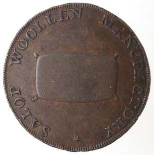reverse: Token. Gran Bretagna. Shropshire Shrewsbury. Isaac Wood, 1735-1801, Shrewsbury Halfpenny token. 1793. Ae. D&H 19. D/ Stemma di Shrewsbury SHREWSBURY HALFPENNY 1793. R/ SALOP WOOLEN MANUFACTORY. Sul contorno PAYABLE AT SHREWSBURY. Peso gr. 11,02. Diametro mm. 31. SPL+.