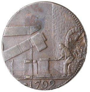 reverse: Token. Gran Bretagna. Warwickshire. Wilkinson. Halfpenny token. 1792. Ae. D&H 352. D/ IOHN WILKINSON IRON MASTER Busto a destra. R/ Fucina per la lavorazione del ferro, in esergo 1792. Peso gr. 11,12. Diametro mm. 27. BB. Mancanza di conio.