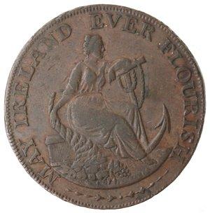 obverse: Token. Irlanda. Dublin, Parker s, Halfpenny token 1795. Ae. D&H 352. D/ MAY IRELAND EVER FLOURISH Figura femminile appoggiata ad una cornucopia, tiene un ancora. R/ DUBLIN HALFPENNY, in esergo 1795. Sul contorno  PAYABLE AT PARKER S (OLD BIR)MINGHAM WAREHOUSE. Peso gr. 9,55. Diametro mm. 29. BB. Graffi.