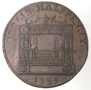 reverse: Token. Irlanda. Dublin, Parker s, Halfpenny token 1795. Ae. D&H 352. D/ MAY IRELAND EVER FLOURISH Figura femminile appoggiata ad una cornucopia, tiene un ancora. R/ DUBLIN HALFPENNY, in esergo 1795. Sul contorno  PAYABLE AT PARKER S (OLD BIR)MINGHAM WAREHOUSE. Peso gr. 9,55. Diametro mm. 29. BB. Graffi.