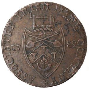 reverse: Token. Irlanda. Wicklow, Halfpenny token 1789. Ae. D&H 14. D/ Busto vescovile a destra CRONEBANE HALFPENNY. R/ ASSOCIATED IRISH MINE COMPANY Stemma. Sul contorno PAYABLE AT CRONEBANE LODGE & DUBLIN. Peso gr. 12,53. Diametro mm. 29,50. qSPL. Colpi al bordo.