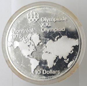 reverse: Monete Estere. Canada.Elisabetta II.10 Dollari 1973. Olimpiadi di Montreal 1976. Mappa del mondo. AG 925. Km. 86.1. FDC.Proof.