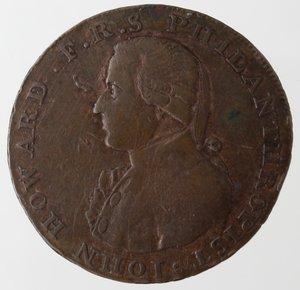 obverse: Token. USA. Colonie Inglesi. Ae. Talbot, Allum & Lee Cent. D/ IOHN HOWARD F. R. S. PHILANTHROPIST Busto a sinistra. R/ LIBERTY & COMMERCE 1794 la Libertà stante. Breen-1049. Peso 7,50 gr. Diametro mm. 28. BB+. RRRR.