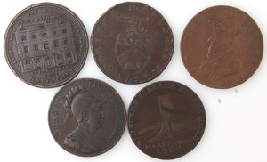 obverse: Token. Lotto di 5 pezzi da half penny. Ae. Notati. Portsea 1794, Lancaster 1794, London 1795, Southampton 1791, Thomas Wood 1811. Mediamente BB.