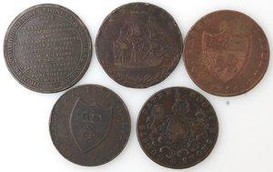 reverse: Token. Lotto di 5 pezzi da half penny. Ae. Notati. Portsea 1794, Lancaster 1794, London 1795, Southampton 1791, Thomas Wood 1811. Mediamente BB.