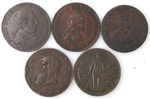 obverse: Token.  Lotto di 5 pezzi da half penny. Ae. Paris Miners 1791, Cornovaglia mezza oncia 1791, Edimburgo new university 1797, Ihon Wilkinson 1791. Sheffield 1811. Mediamente BB+.