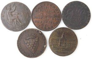reverse: Token.  Lotto di 5 pezzi da half penny. Ae. Paris Miners 1791, Cornovaglia mezza oncia 1791, Edimburgo new university 1797, Ihon Wilkinson 1791. Sheffield 1811. Mediamente BB+.