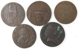 obverse: Token.  Lotto di 5 pezzi da half penny. Ae. Irish Miners 1795, Norwich 1792, Norwich con il castello 1793, Portsmouth 1794. Emsworth 1794. Mediamente qBB.