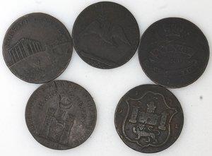 reverse: Token.  Lotto di 5 pezzi da half penny. Ae. Irlanda. Wicklow 1789, Liverpool 1791, North Wales 1793, Irish Mine Company 1793. Coalbrook Dale 1792. Mediamente qBB.