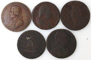 obverse: Token.  Lotto di 5 pezzi da half penny. Ae. Portsmouth 1794, Warwickshire. Wilkinson 1793, Birmingham 1793, Warwickshire. Wilkinson 1792. England token nd. Mediamente qBB.