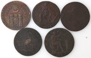reverse: Token.  Lotto di 5 pezzi da half penny. Ae. Portsmouth 1794, Warwickshire. Wilkinson 1793, Birmingham 1793, Warwickshire. Wilkinson 1792. England token nd. Mediamente qBB.