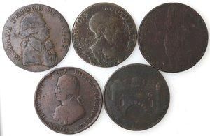 obverse: Token.  Lotto di 5 pezzi da half penny. Ae. Southampton data non leggibile, Leeds 1791, Londra 1791, Token del 1795 con i numeri romani. Portsmouth 1794. Mediamente MB.
