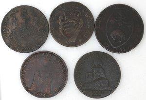 reverse: Token.  Lotto di 5 pezzi da half penny. Ae. Southampton data non leggibile, Leeds 1791, Londra 1791, Token del 1795 con i numeri romani. Portsmouth 1794. Mediamente MB.