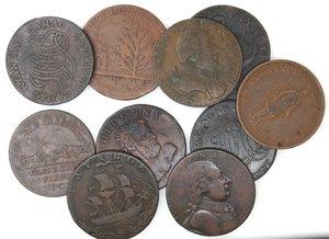 obverse: Token.  Lotto di 10 pezzi da half penny. Ae. Da classificare. Mediamente MB.