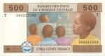 obverse: Banconote Estere. Africa Centrale. 500 Franchi 2002. FDS.
