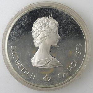 obverse: Monete Estere. Canada.Elisabetta II.10 Dollari 1973. Olimpiadi di Montreal 1976. Veduta di Montreal. AG 925. Km. 87. FDC.Proof.