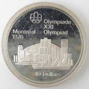 reverse: Monete Estere. Canada.Elisabetta II.10 Dollari 1973. Olimpiadi di Montreal 1976. Veduta di Montreal. AG 925. Km. 87. FDC.Proof.