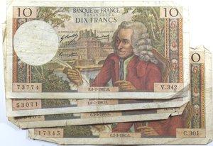 obverse: Banconote Estere. Francia. Lotto di 5 pezzi. 10 Franchi Voltaire. 100 Franchi Corneille. MB-BB.