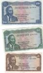 obverse: Banconote Estere. Kenya. Lotto di 3 pezzi. 20-10-5 Shillinghs 1973. Mediamente BB.