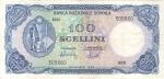 obverse: Banconote Estere. Banca Nazionale somala. 100 Scellini 1968. Presenta diverse pieghe. BB. Banconota riparata in basso?