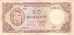obverse: Banconote Estere. Banca Nazionale somala. 20 Scellini 1968. Carta ingialiita e con diverse pieghe, scritta a penna sul retro. MB+.
