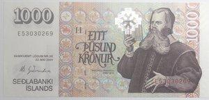 obverse: Banconote Estere. Islanda. 1.000 Corone 2001. FDS.