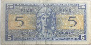 reverse: Banconote Estere. Usa. Military Payment  Certficate. 5 cents 1954. Serie 521. qBB.