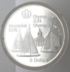 reverse: Monete Estere. Canada.Elisabetta II.5 Dollari 1973. Olimpiadi di Montreal 1976. Vele. AG 925. Km. 85. Peso gr. 24,21. Diametro mm. 38.FDC Proof.