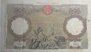 obverse: Banconote Italiane. Regno D Italia. 100 lire  Aquila Romana (Fascio). Dec. Min. 21 Novembre 1942. Crapanzano 256. MB+. Strappo e macchia laterale.